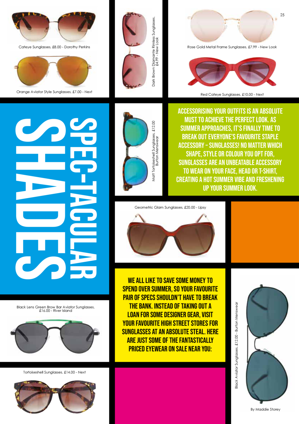 Bright  Orange Aviator Style Sunglasses,   7.00 - Next     Not Invited    is a bold blue, the ultimate colour blocking sha...