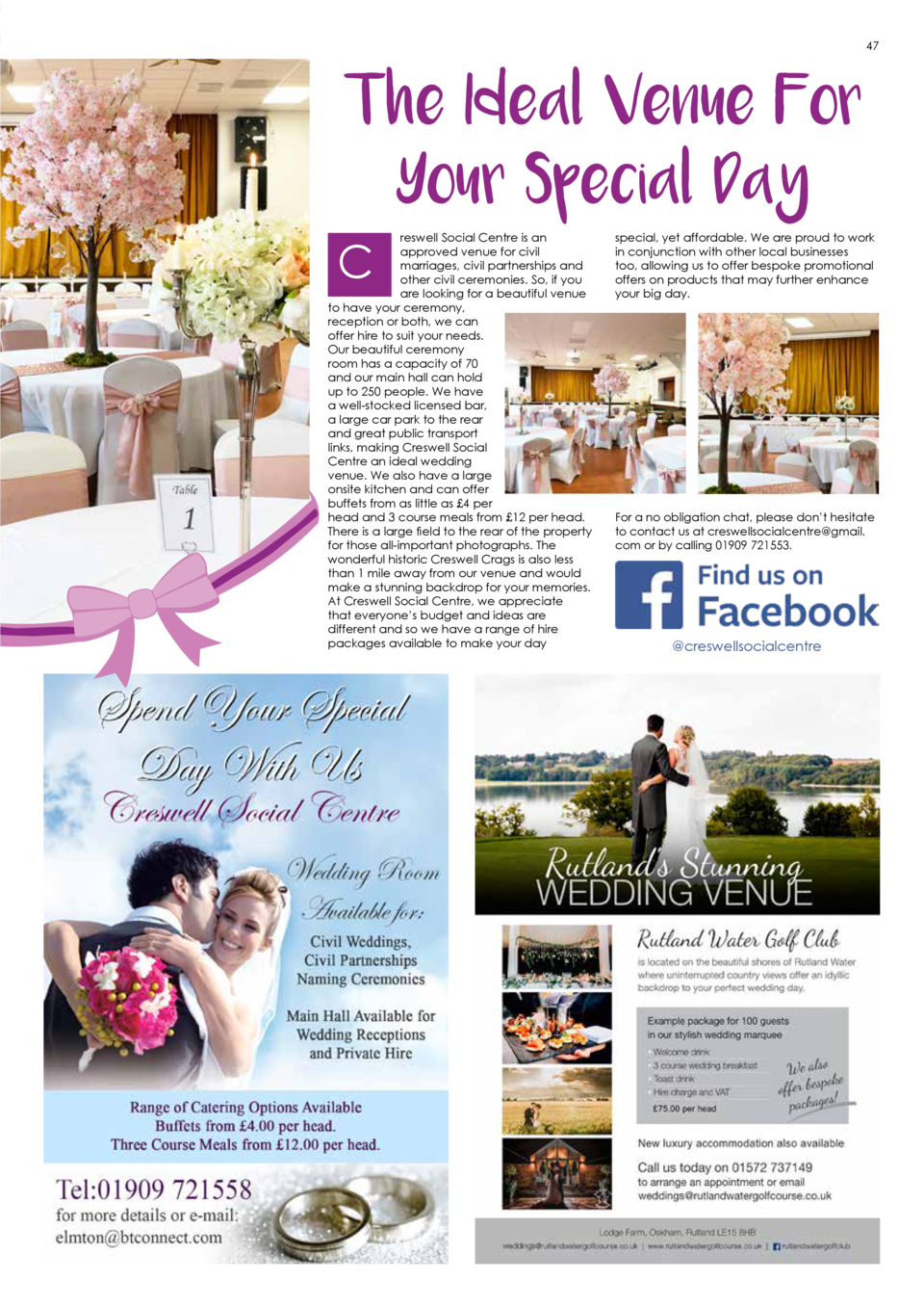 47  The Ideal Venue For Your Special Day  reswell Social Centre is an approved venue for civil marriages, civil partnershi...