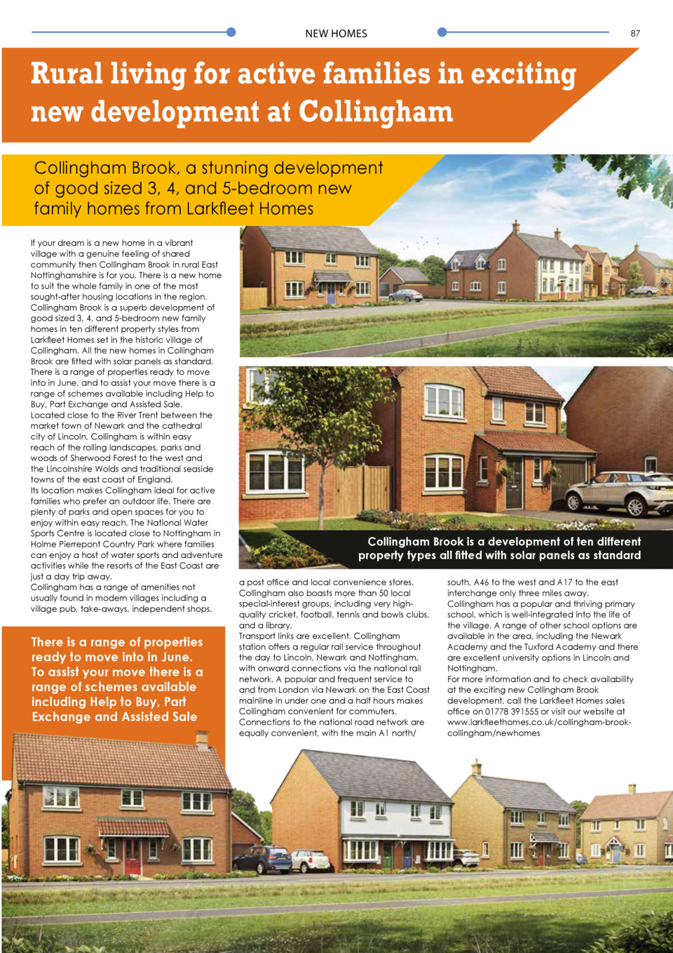 NEW HOMES  87  Rural living for active families in exciting new development at Collingham Collingham Brook, a stunning dev...