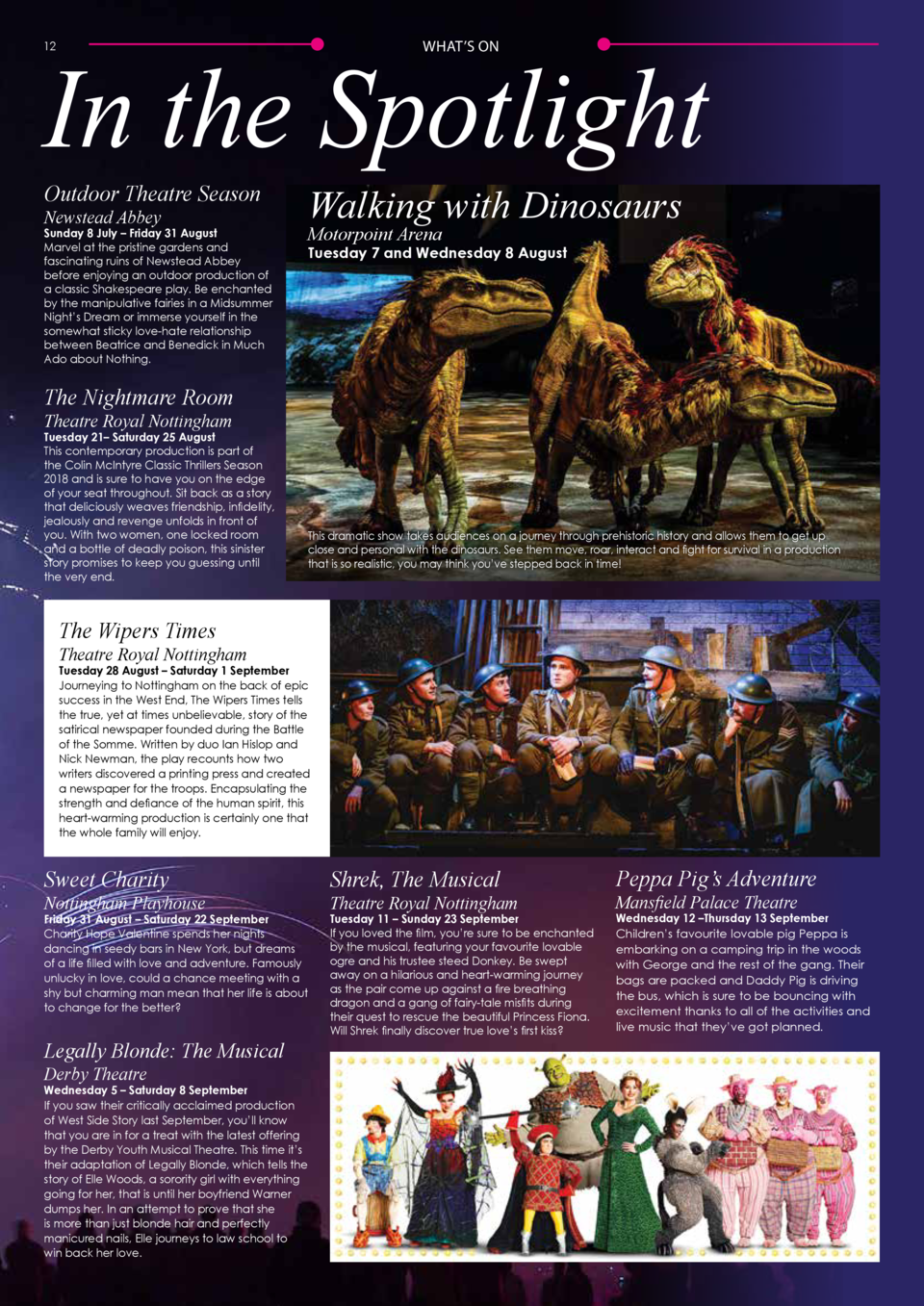 In the Spotlight     ON WHAT   S  12  Outdoor Theatre Season  Walking with Dinosaurs  Newstead Abbey  Motorpoint Arena  Su...