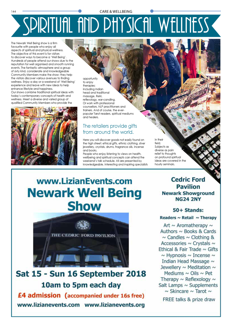 CARE   WELLBEING  144  145  Spiritual and physical wellness The Newark Well Being show is a firm favourite with people who...