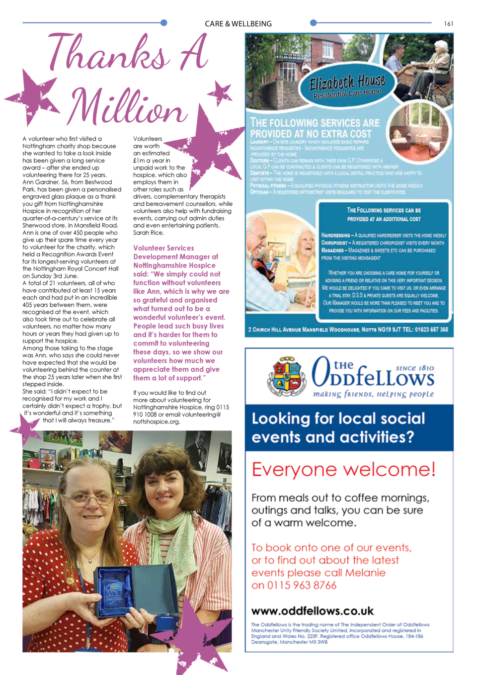 160  CARE   WELLBEING  CARE   WELLBEING  Thanks A Million  A volunteer who first visited a Nottingham charity shop because...