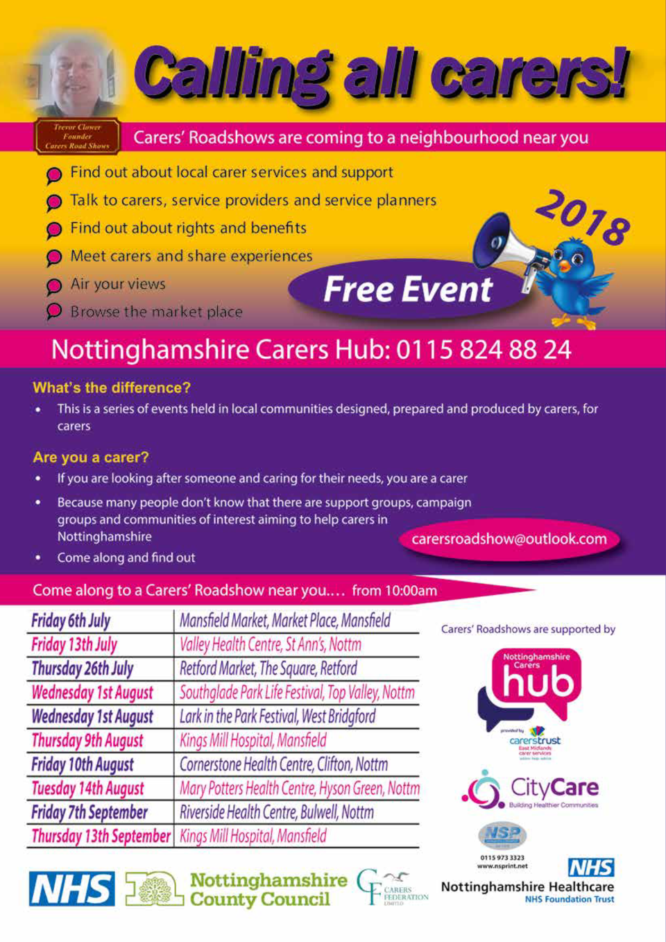CARE   WELLBEING  169  Summer Road Shows for Carers This year is the sixth year of the Summer Road Shows for carers. Each ...