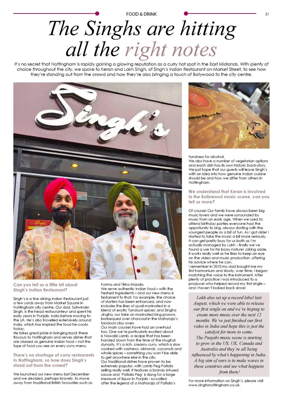 FOOD   DRINK  50  FOOD   DRINK  The Singhs are hitting all the right notes  51  It   s no secret that Nottingham is rapidl...