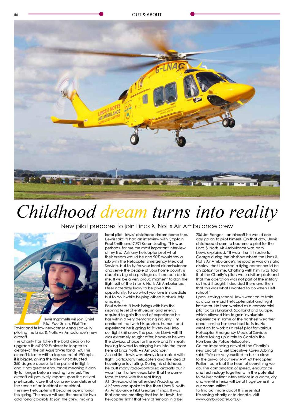 Going to Places  OUT   ABOUT  56  Childhood dream turns into reality New pilot prepares to join Lincs   Notts Air Ambulanc...