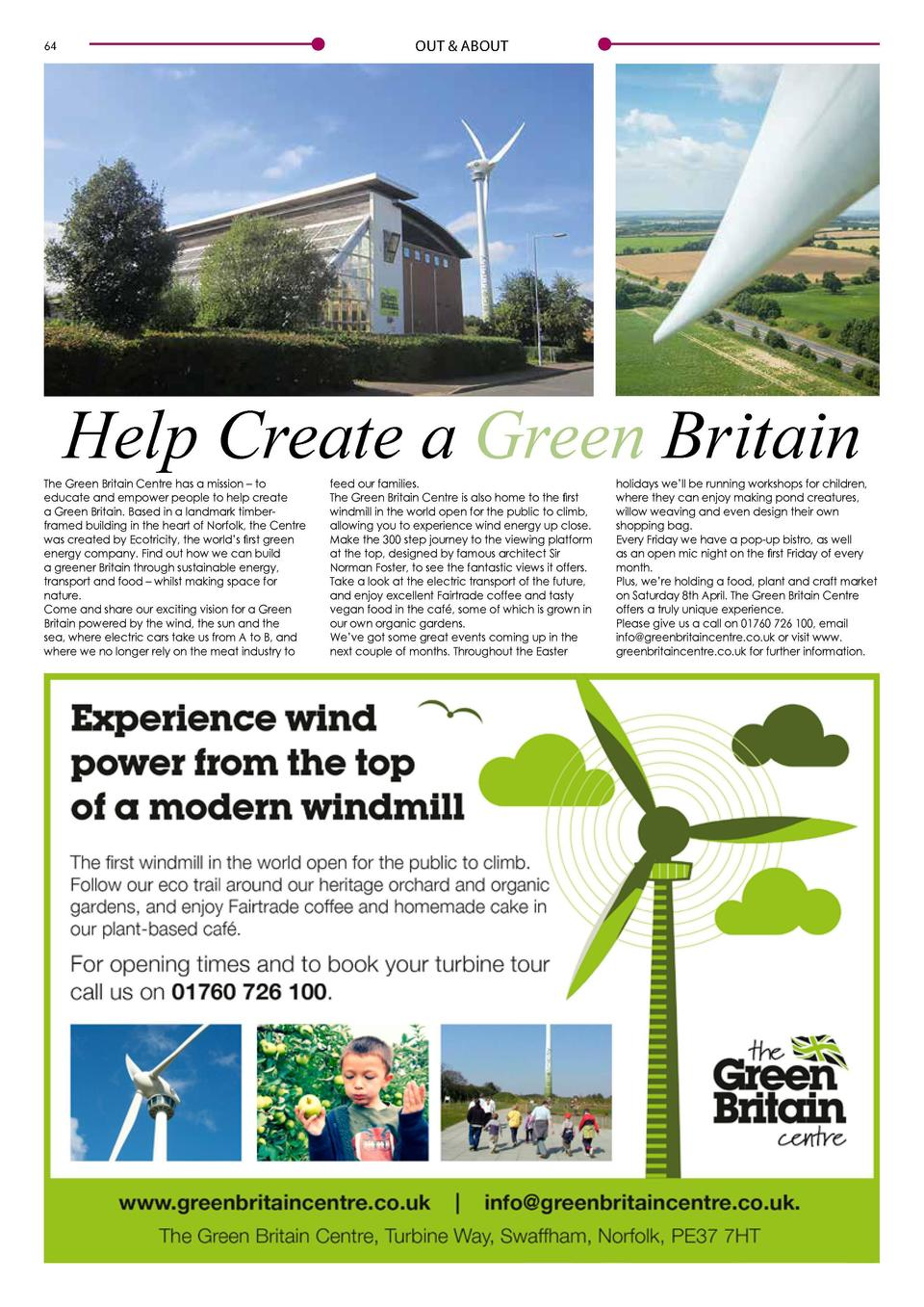 OUT   ABOUT  64  OUT   ABOUT  Houghton to become focus of the art world  Help Create a Green Britain  The Green Britain Ce...