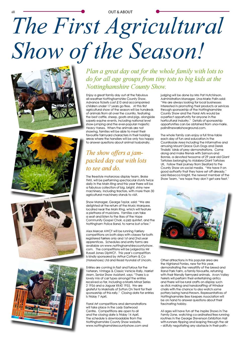 The First Agricultural Show of the Season  68  OUT   ABOUT  OUT   ABOUT  Plan a great day out for the whole family with lo...