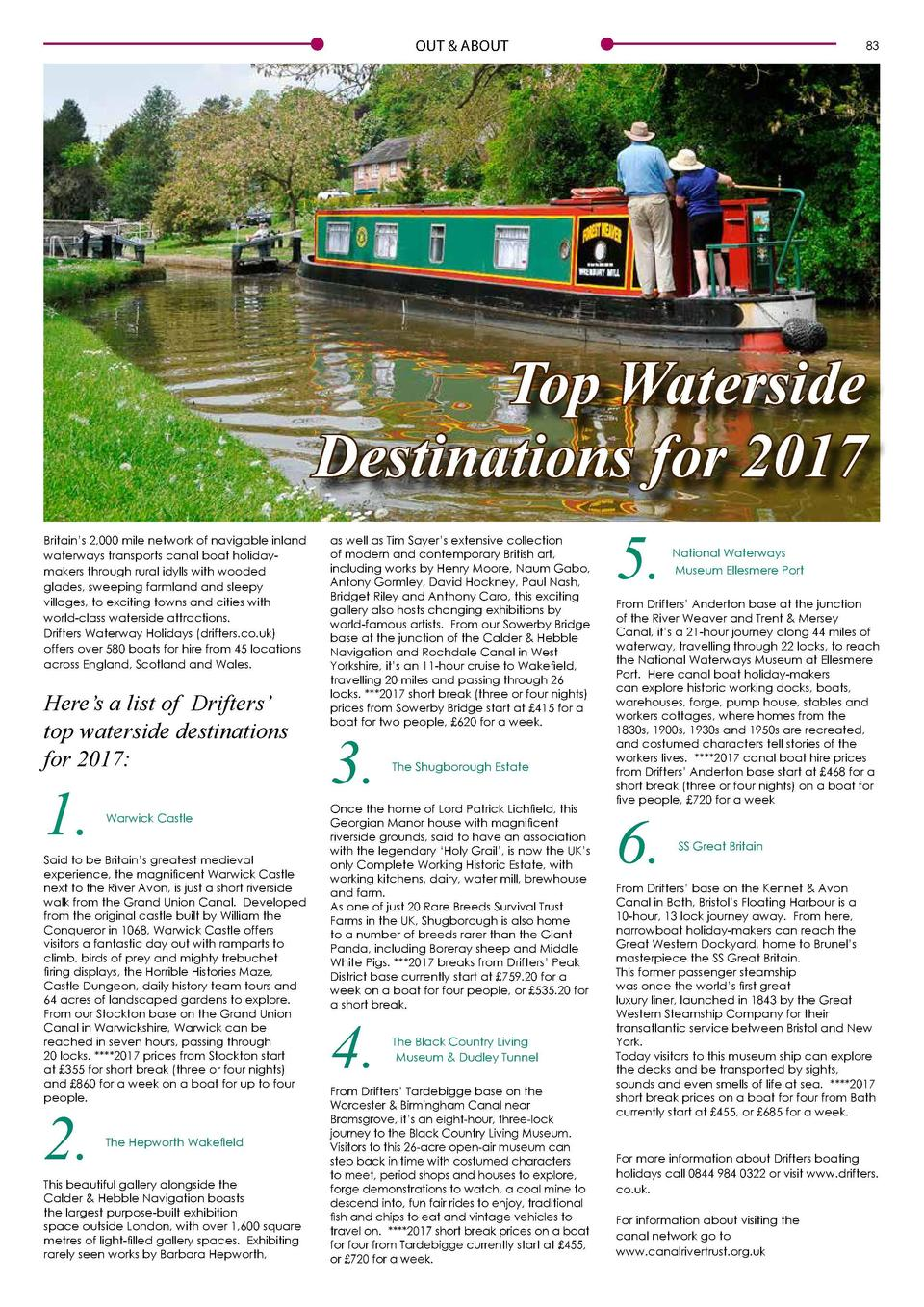 82  OUT   ABOUT  OUT   ABOUT  83  Top Waterside Destinations for 2017 Britain   s 2,000 mile network of navigable inland w...