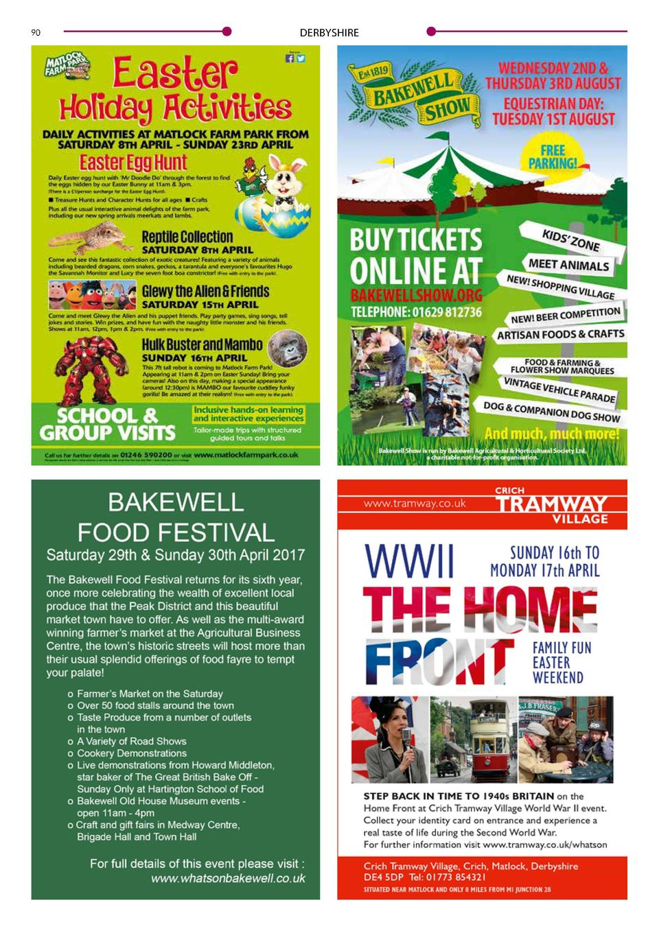 90  DERBYSHIRE  DERBYSHIRE  91  New attractions and free parking 187th Bakewell Show  A shopping    village   , free parki...
