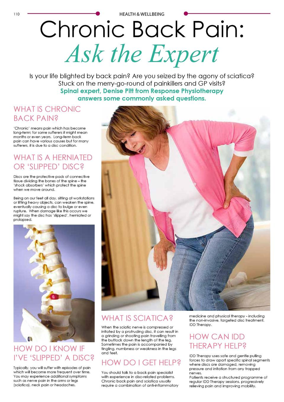110  HEALTH   WELLBEING  HEALTH   WELLBEING  Chronic Back Pain   Ask the Expert  IDD THERAPY RELIEVES BACK PAIN AND SCIATI...