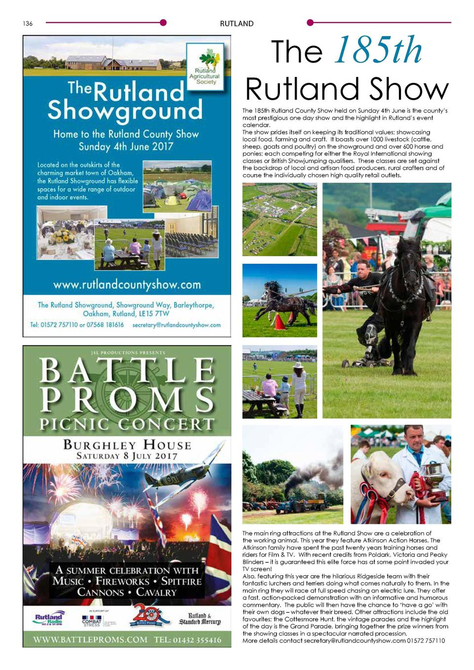 136  RUTLAND  The 185th Rutland Show  The 185th Rutland County Show held on Sunday 4th June is the county   s most prestig...
