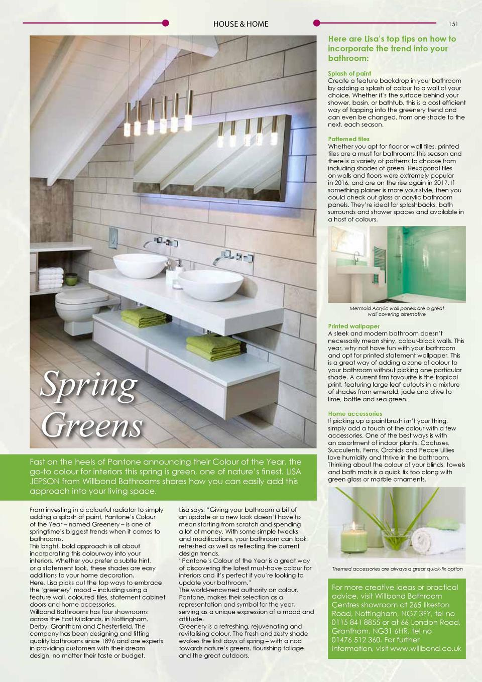 HOUSE   HOME  151  Here are Lisa   s top tips on how to incorporate the trend into your bathroom  Splash of paint Create a...