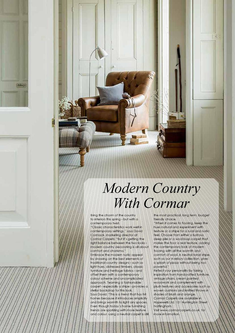 152  HOUSE   HOME  Modern Country With Cormar Bring the charm of the country to interiors this spring - but with a contemp...