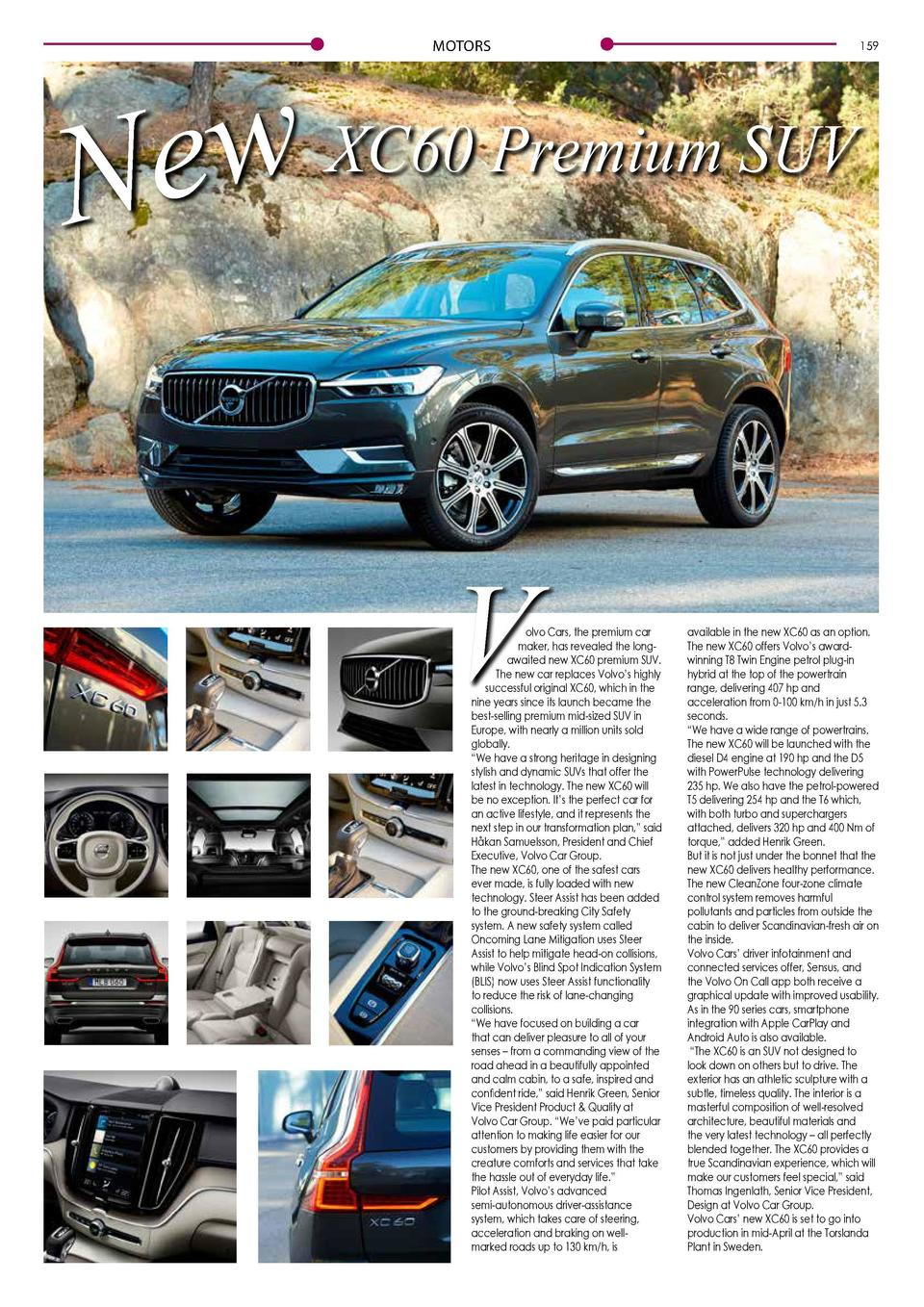 MOTORS  XC60 Premium SUV w e N  V  olvo Cars, the premium car maker, has revealed the longawaited new XC60 premium SUV. Th...