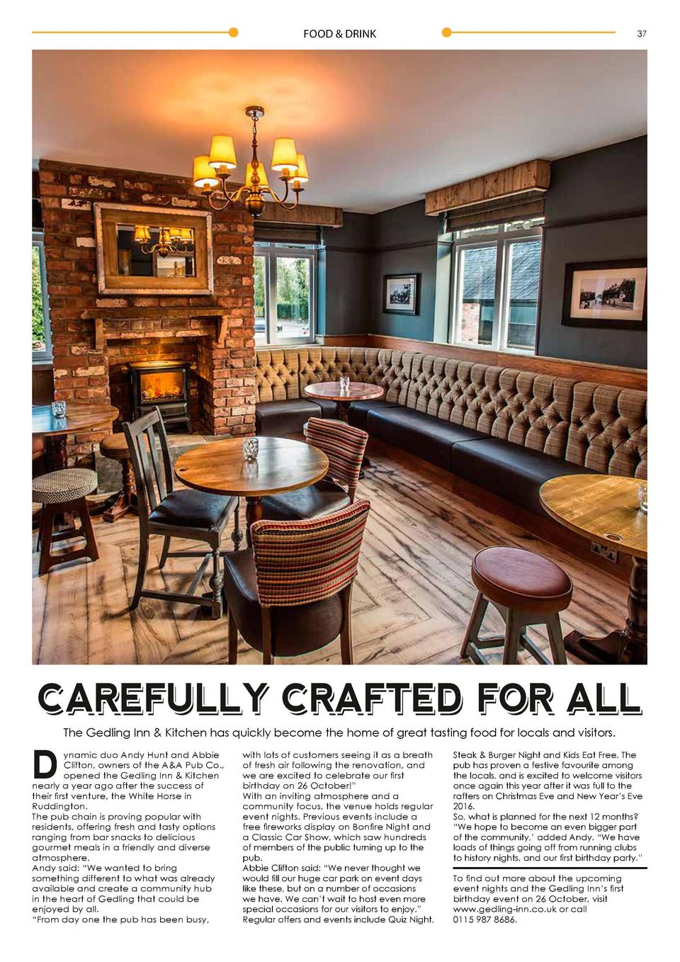 FOOD   DRINK  37  CAREFULLY CRAFTED FOR ALL The Gedling Inn   Kitchen has quickly become the home of great tasting food fo...