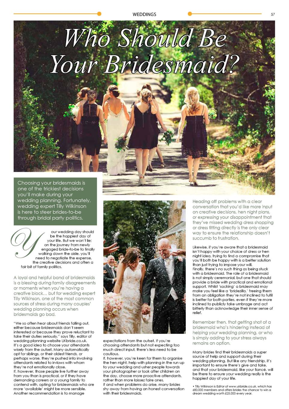 WEDDINGS  57  Who Should Be Your Bridesmaid   Choosing your bridesmaids is one of the trickiest decisions you   ll make du...