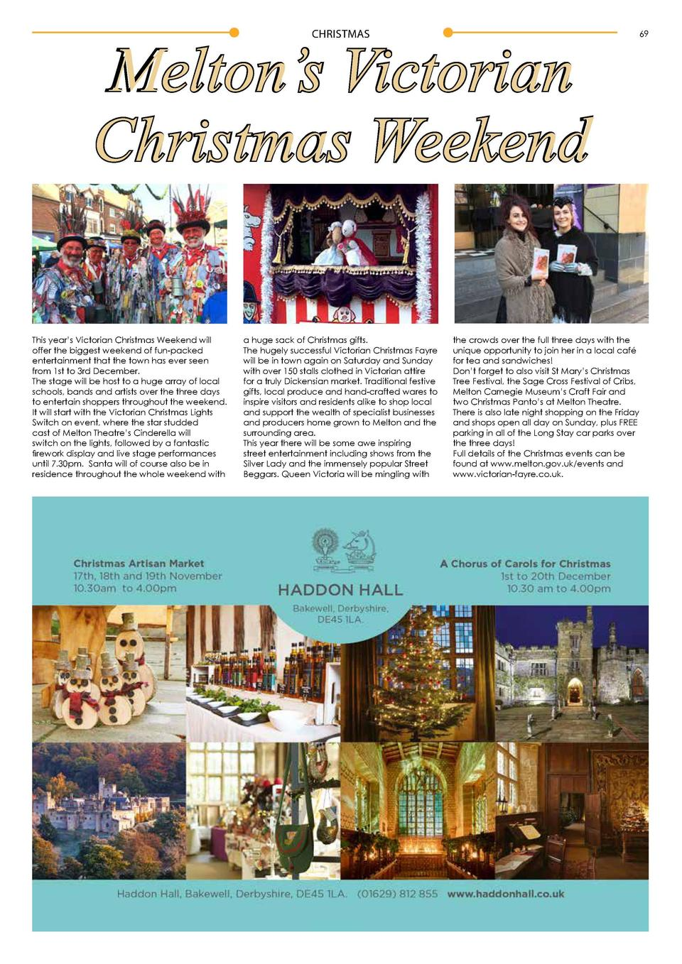 68  CHRISTMAS  Melton   s Victorian Christmas Weekend CHRISTMAS  This year   s Victorian Christmas Weekend will offer the ...