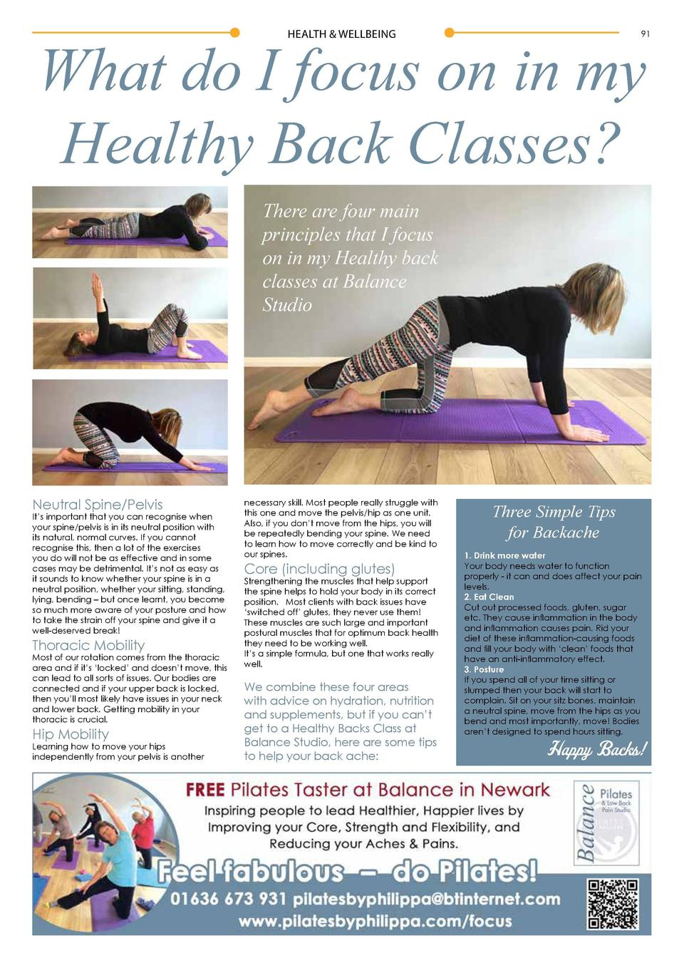 HEALTH   WELLBEING  What do I focus on in my Healthy Back Classes   91  There are four main principles that I focus on in ...