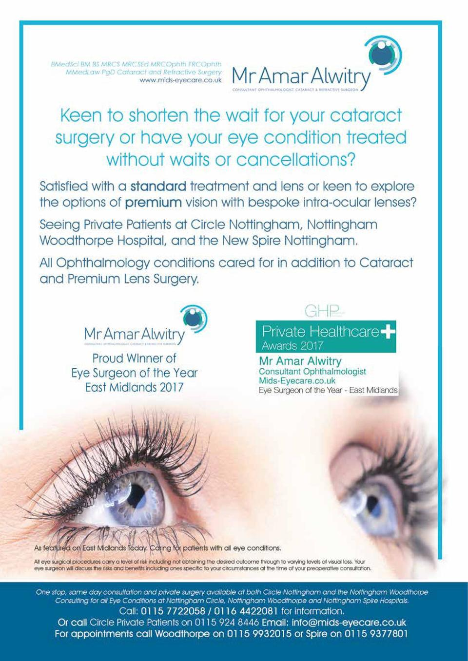 HEALTH   WELLBEING  97  One-stop surgery    Thank you so much for removing the    curtain    from my eye. How wonderful to...