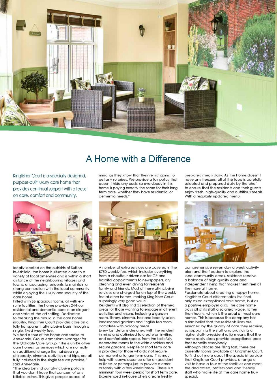 A Home with a Difference Kingfisher Court is a specially designed, purpose-built luxury care home that provides continual ...