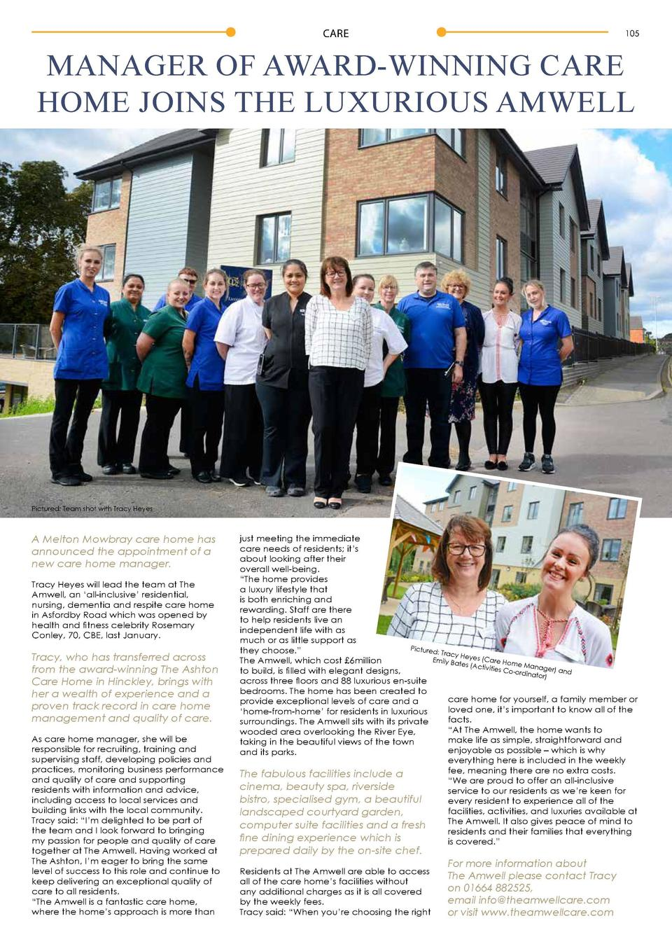 CARE  105  MANAGER OF AWARD-WINNING CARE HOME JOINS THE LUXURIOUS AMWELL  Pictured  Team shot with Tracy Heyes  A Melton M...