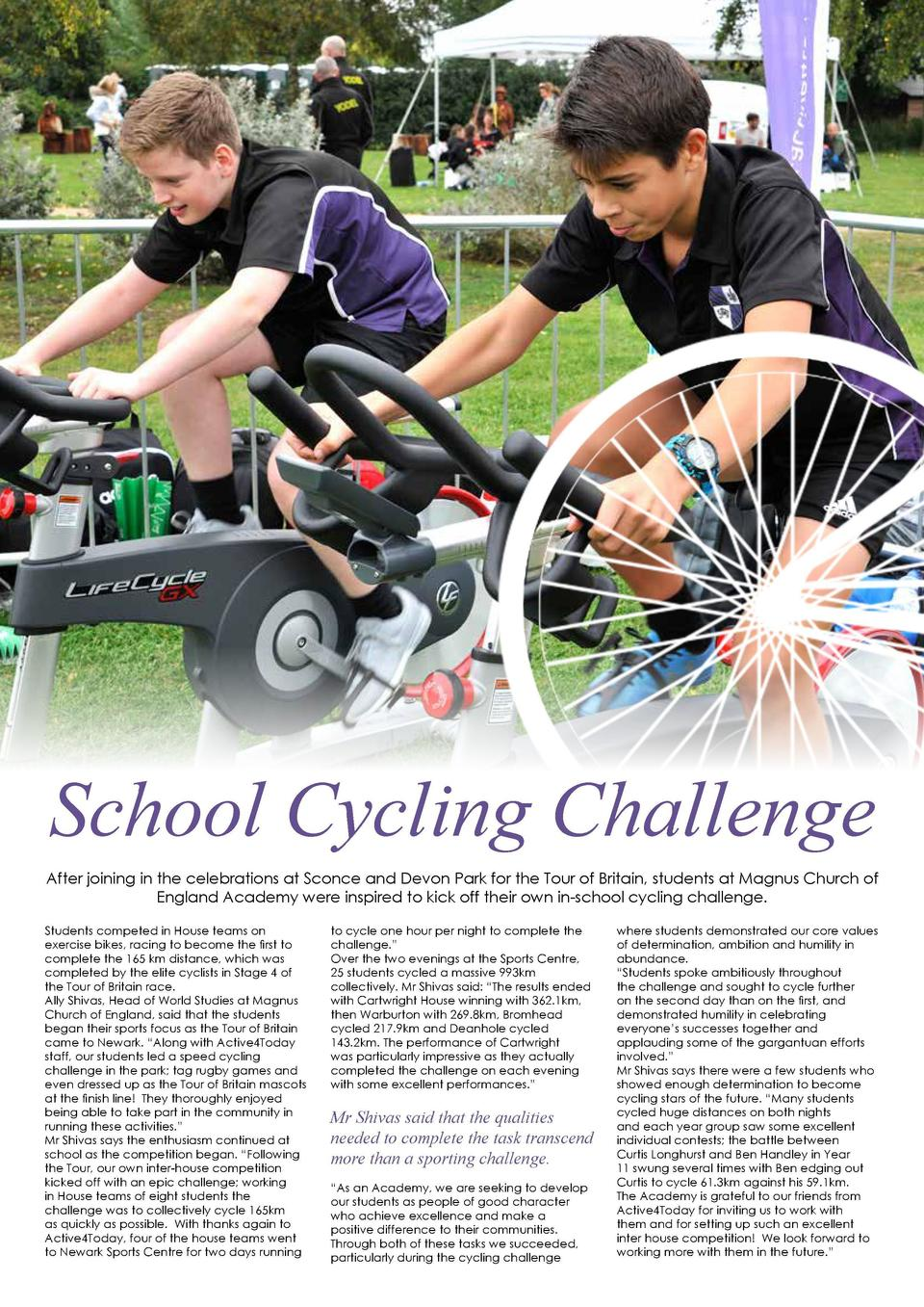 EDUCATION  135  By Maddie Storey  A Practical Way to Learn  School Cycling Challenge After joining in the celebrations at ...