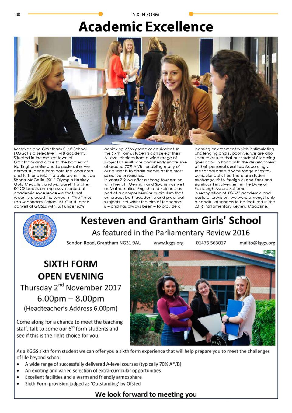 138  SIXTH FORM  Academic Excellence  SIXTH FORM  Sixth Form Success Sixth Formers at Carlton le Willows Academy Sixth For...