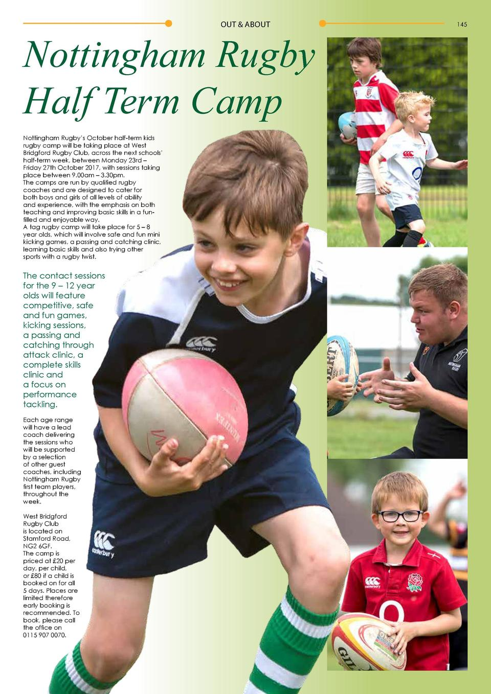 144  OUT   ABOUT  OUT   ABOUT  Timelines  Nottingham Rugby Half Term Camp Nottingham Rugby   s October half-term kids rugb...