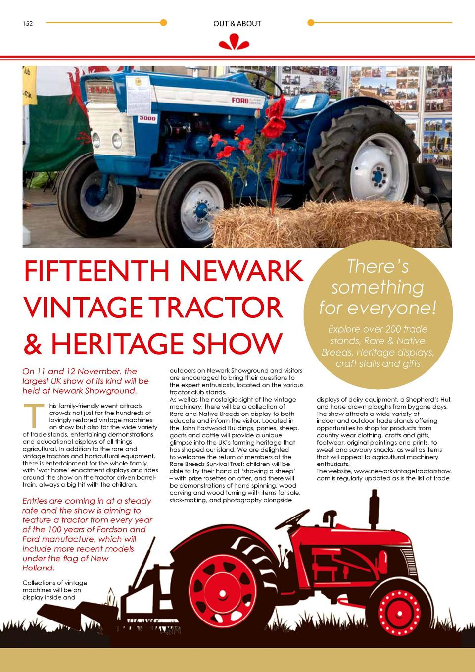 152  OUT   ABOUT  FIFTEENTH NEWARK VINTAGE TRACTOR   HERITAGE SHOW On 11 and 12 November, the largest UK show of its kind ...