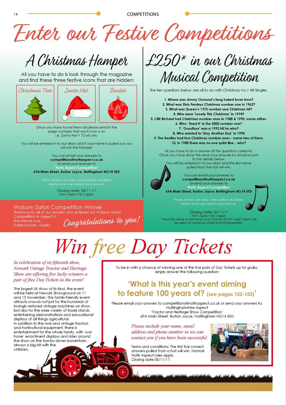 COMPETITIONS  14  INTERVIEW  Enter our Festive Competitions A Christmas Hamper All you have to do is look through the maga...