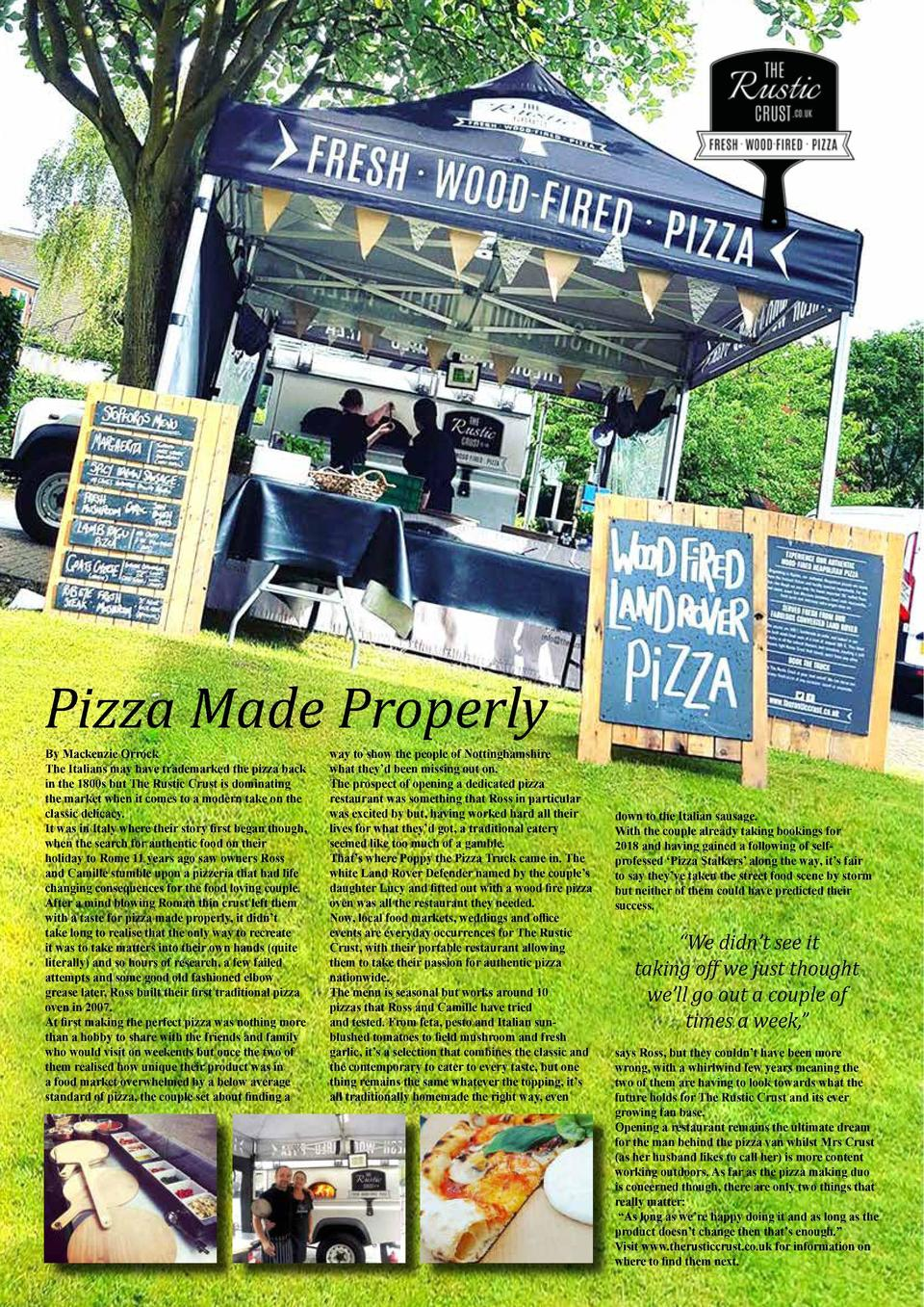 FOOD   DRINK  29  A restaurant you can bank on   Pizza Made Properly By Mackenzie Orrock The Italians may have trademarked...