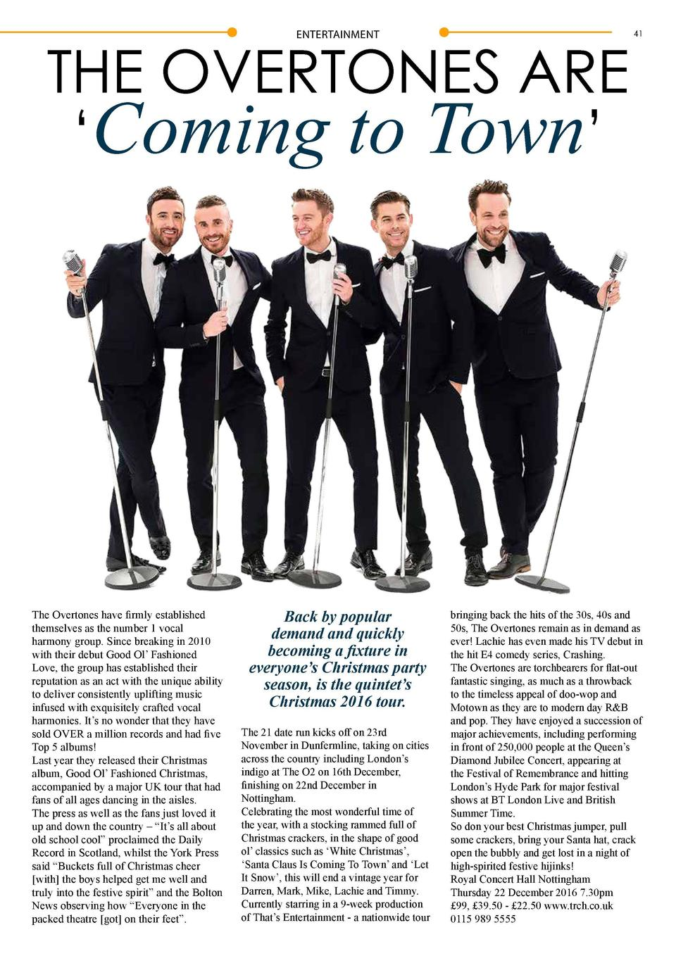 40  ENTERTAINMENT  THE OVERTONES ARE    Coming to Town     The Overtones have firmly established themselves as the number ...