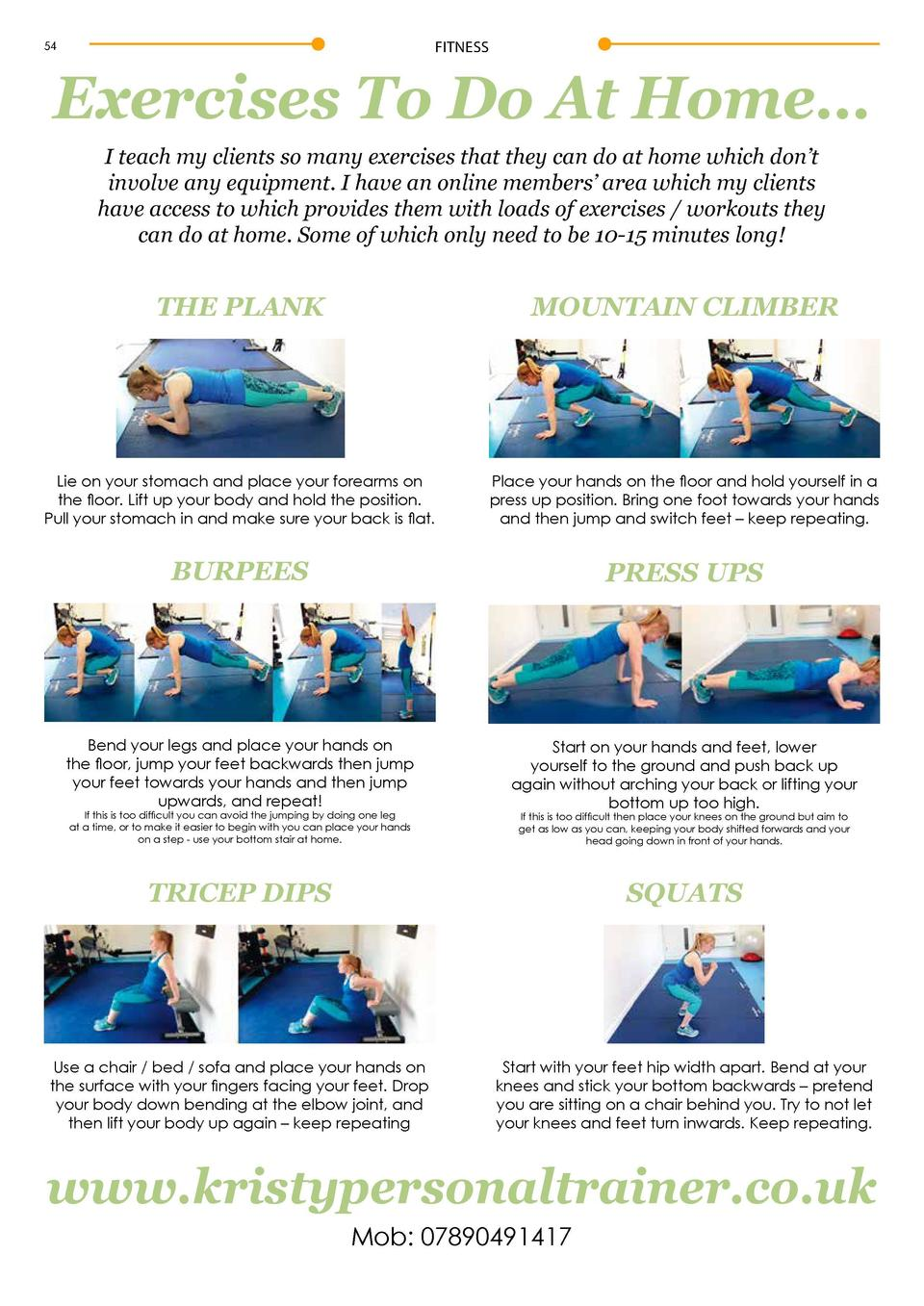 FITNESS  FITNESS  Exercises To Do At Home     By Kristy Ellis     Personal Trainer  54  I teach my clients so many exercis...
