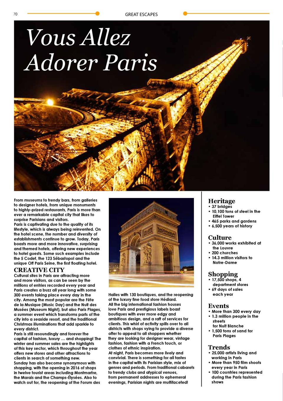 GREAT ESCAPES  70  Vous Allez Adorer Paris  From museums to trendy bars, from galleries to designer hotels, from unique mo...