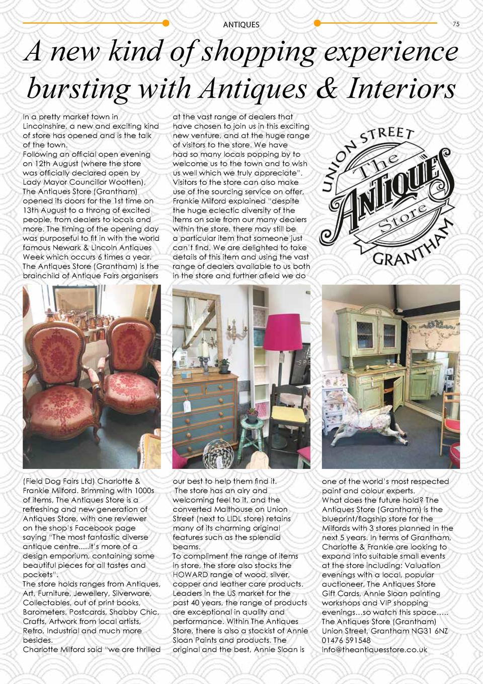 ANTIQUES  75  A new kind of shopping experience bursting with Antiques   Interiors In a pretty market town in Lincolnshire...