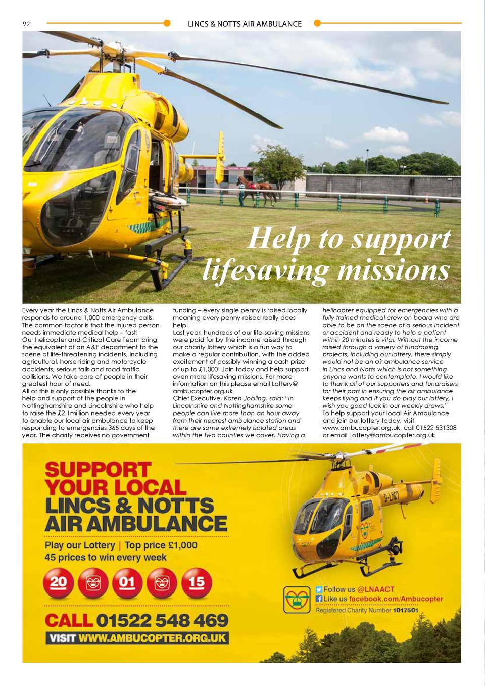 92  LINCS   NOTTS AIR AMBULANCE  The most wonderful time of the year  Help to support lifesaving missions Every year the L...