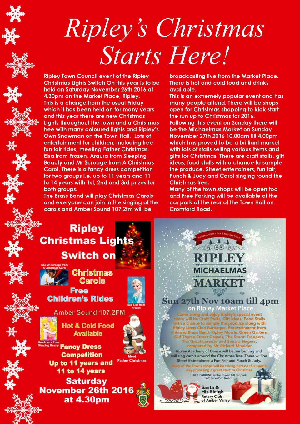 Ripley   s Christmas Starts Here   Ripley Town Council event of the Ripley Christmas Lights Switch On this year is to be h...