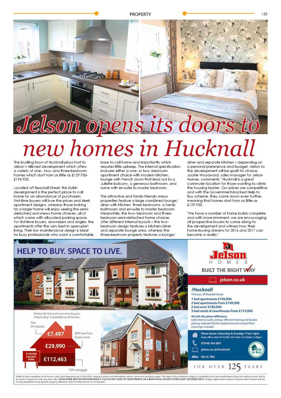 PROPERTY  132  133  Jelson opens its doors to new homes in Hucknall  The bustling town of Hucknall plays host to Jelson   ...