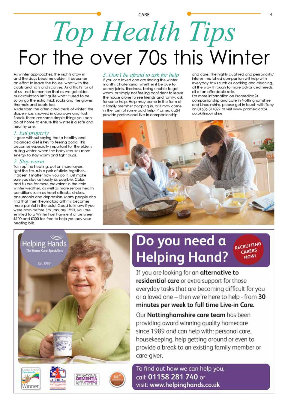 Top Health Tips CARE  141  For the over 70s this Winter As winter approaches, the nights draw in and the days become colde...