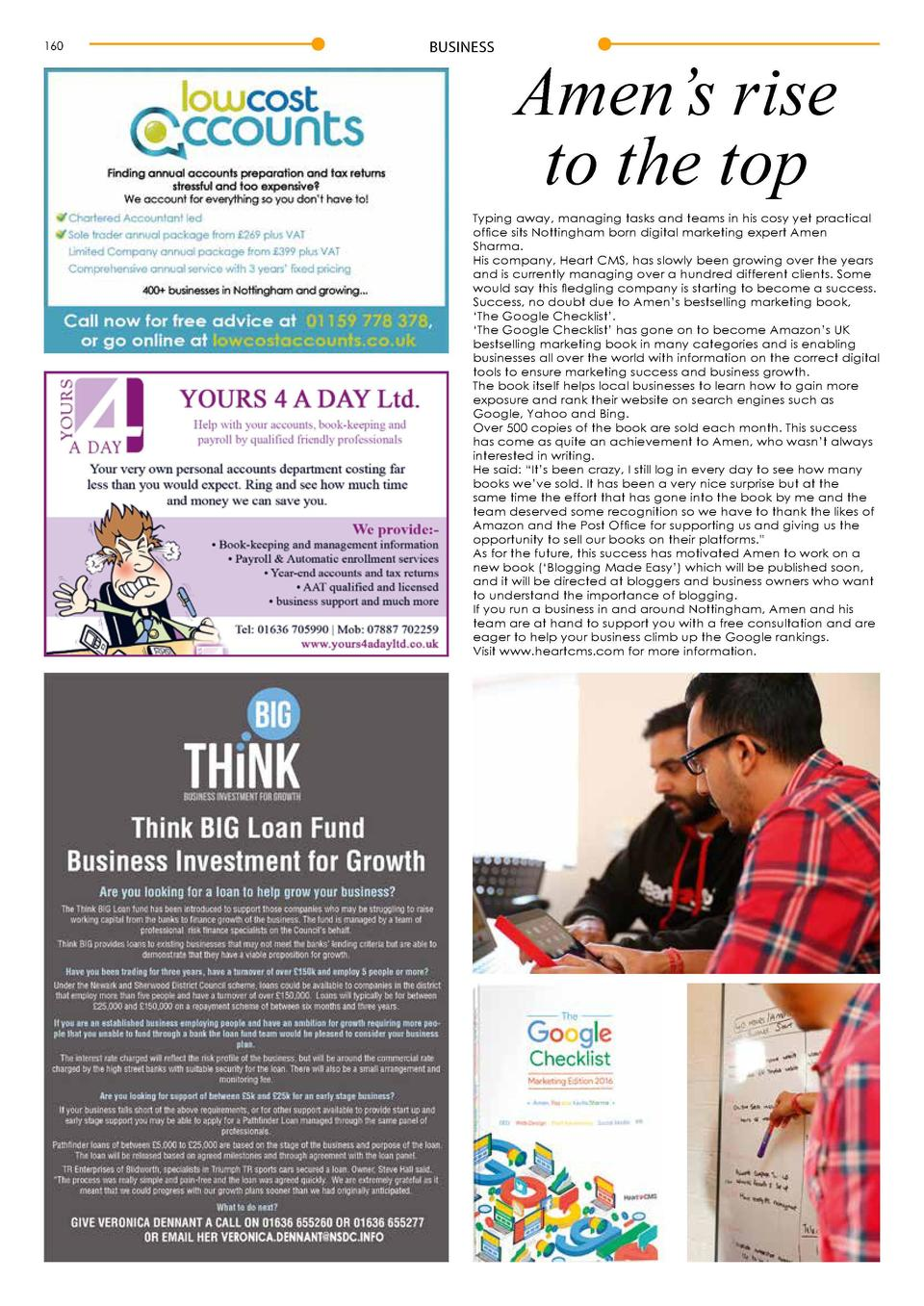 160  BUSINESS  Amen   s rise to the top  Typing away, managing tasks and teams in his cosy yet practical office sits Notti...