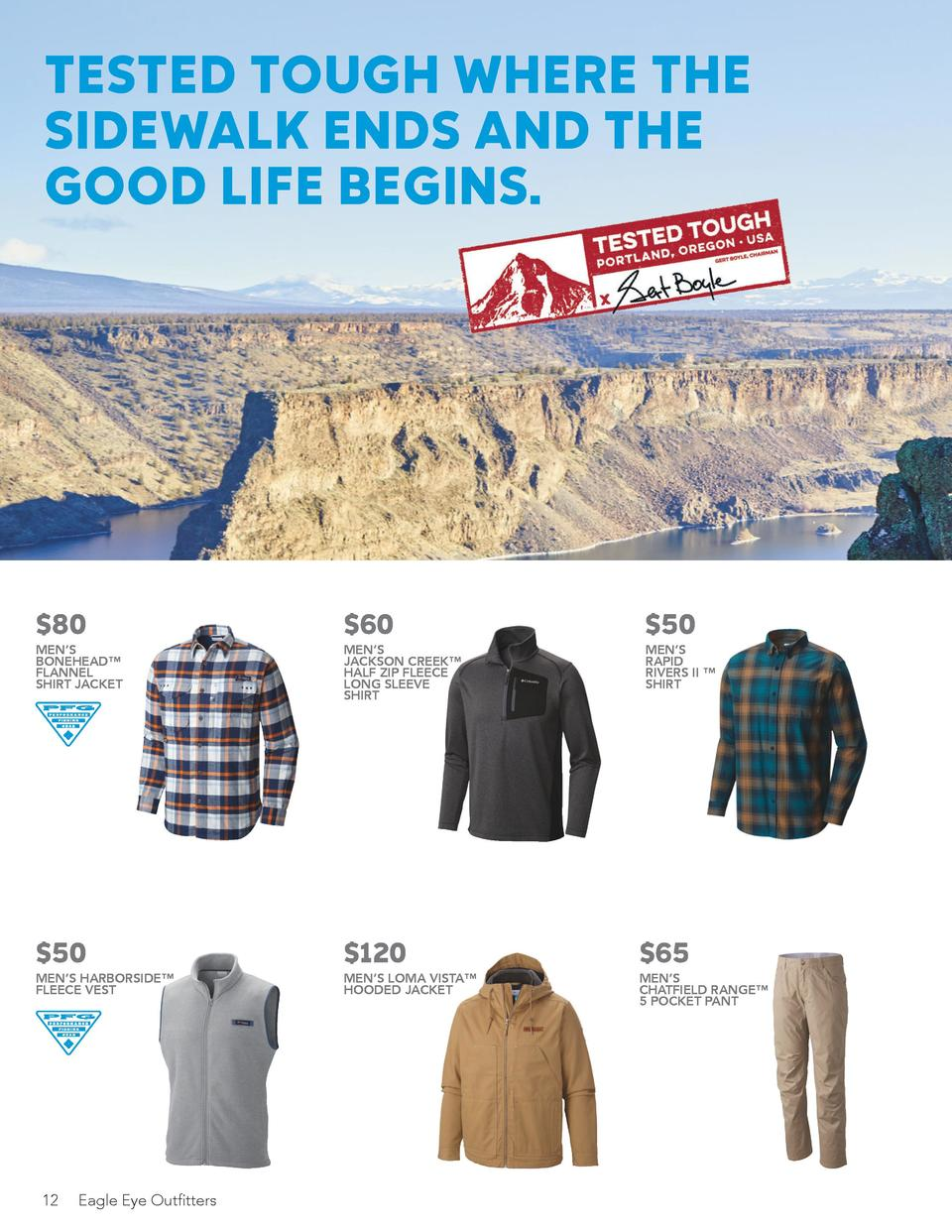 TESTED TOUGH WHERE THE SIDEWALK ENDS AND THE GOOD LIFE BEGINS.  60.00  MEN   S JACKSON CREEK    HALF ZIP FLEECE LONG SLEEV...