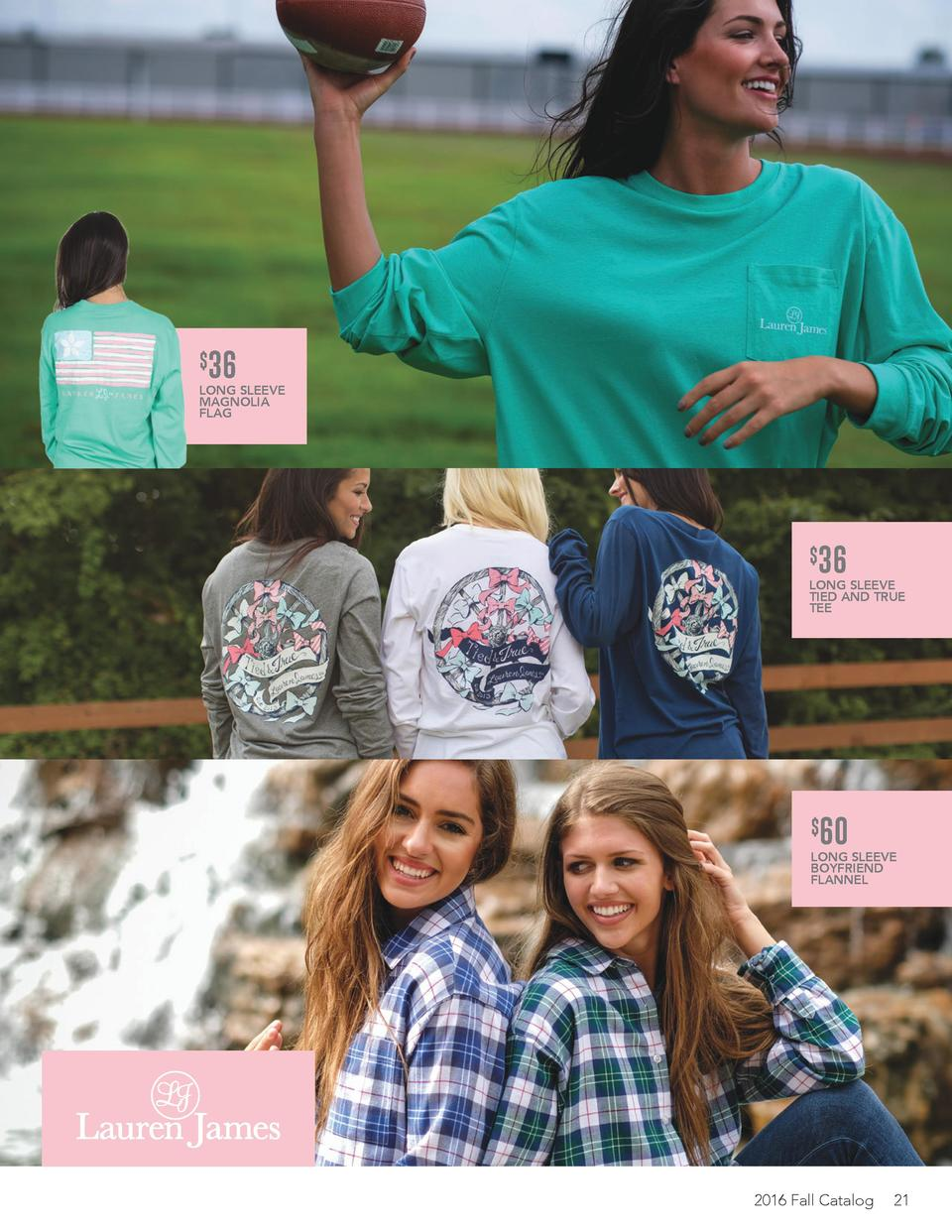 36  LONG SLEEVE MAGNOLIA FLAG     36  LONG SLEEVE TIED AND TRUE TEE     60  LONG SLEEVE BOYFRIEND FLANNEL  2016 Fall Ca...