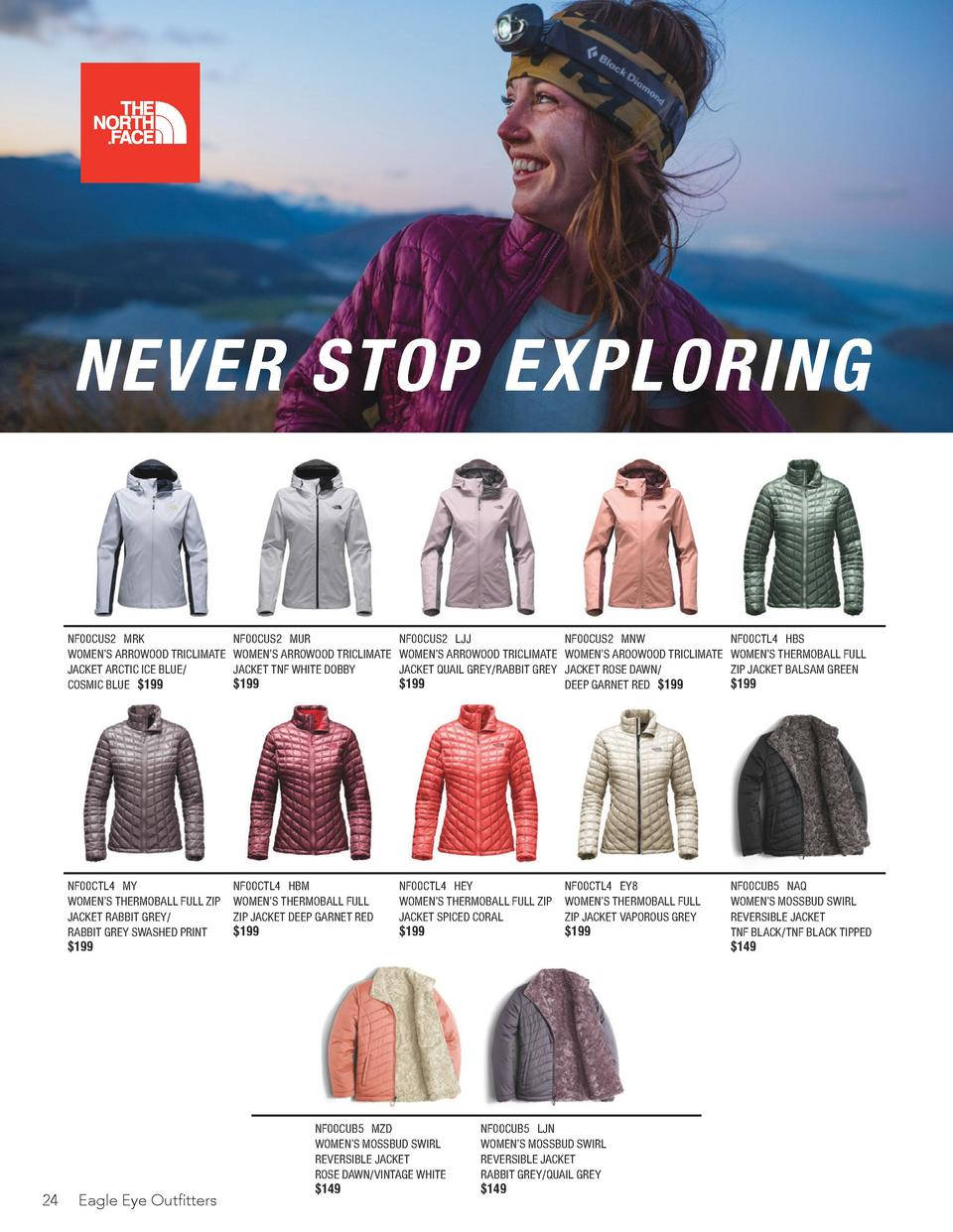NEVER STOP EXPLORING  24  NF00CUS2 MRK WOMEN   S ARROWOOD TRICLIMATE JACKET ARCTIC ICE BLUE  COSMIC BLUE  199.00  NF00CUS2...
