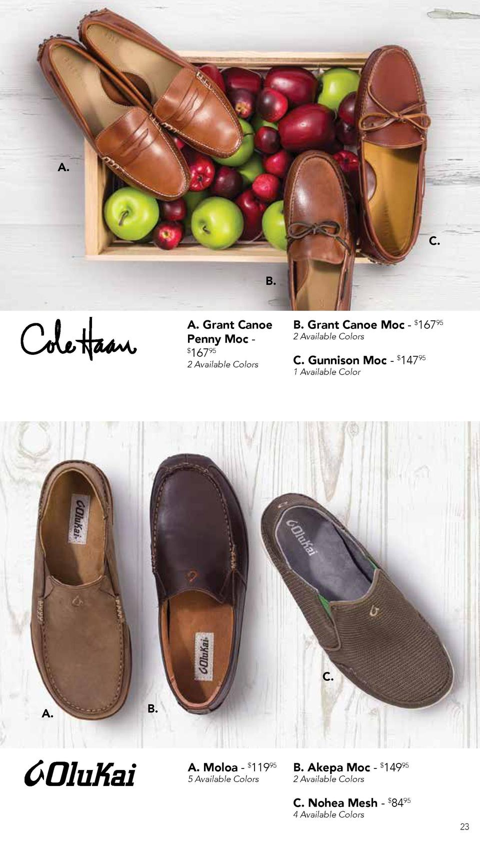 A.  C. B. A. Grant Canoe Penny Moc   16795 2 Available Colors  B. Grant Canoe Moc -  16795 2 Available Colors  C. Gunnison...