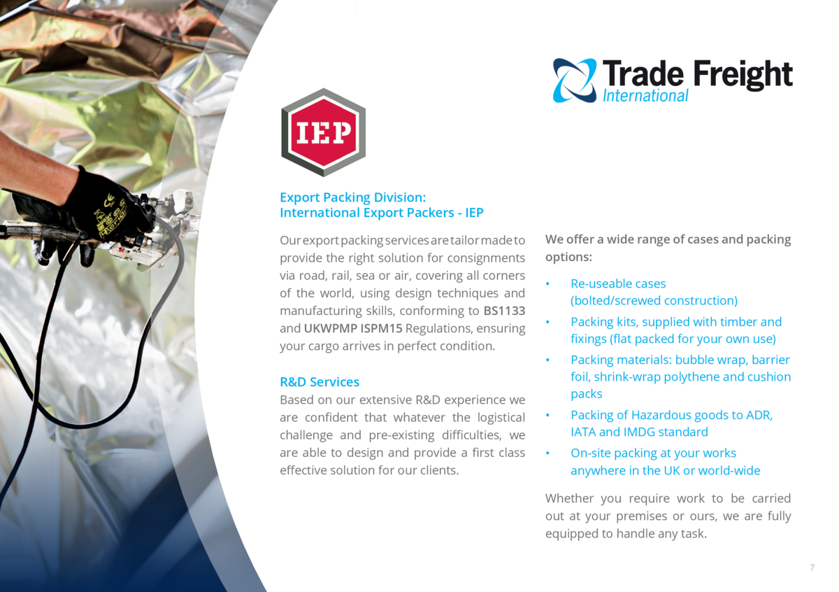 Export Packing Division  International Export Packers - IEP Our export packing services are tailor made to provide the rig...