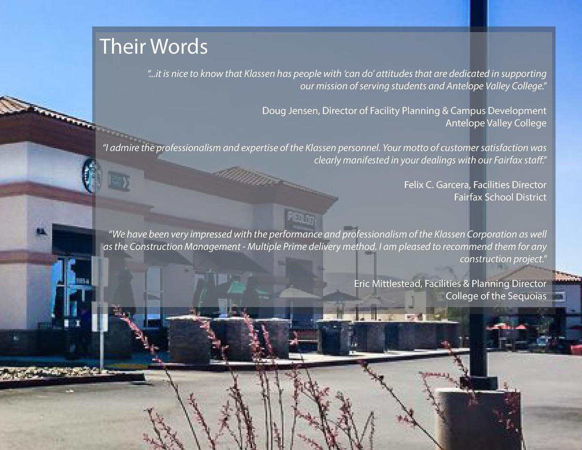 Their Words    ...it is nice to know that Klassen has people with    can do    attitudes that are dedicated in supporting ...