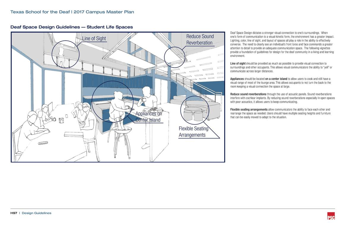Texas School for the Deaf   2017 Campus Master Plan  Deaf Space Design Guidelines     Student Life Spaces Deaf Space Desig...