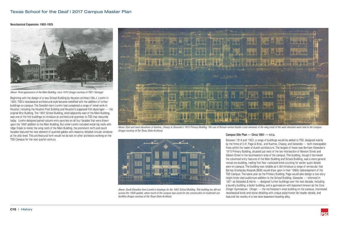 Texas School for the Deaf   2017 Campus Master Plan Neoclassical Expansion  1902-1925  Above  Final appearance of the Main...