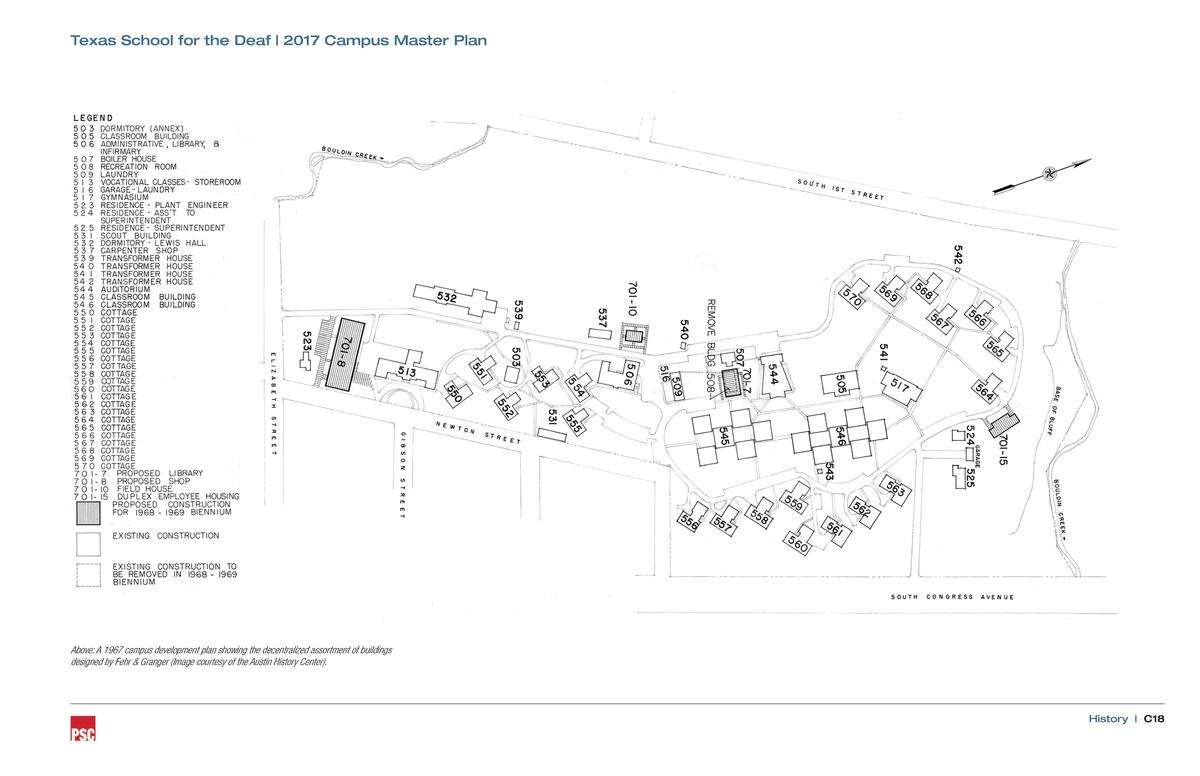 Texas School for the Deaf   2017 Campus Master Plan  Above  A 1967 campus development plan showing the decentralized assor...