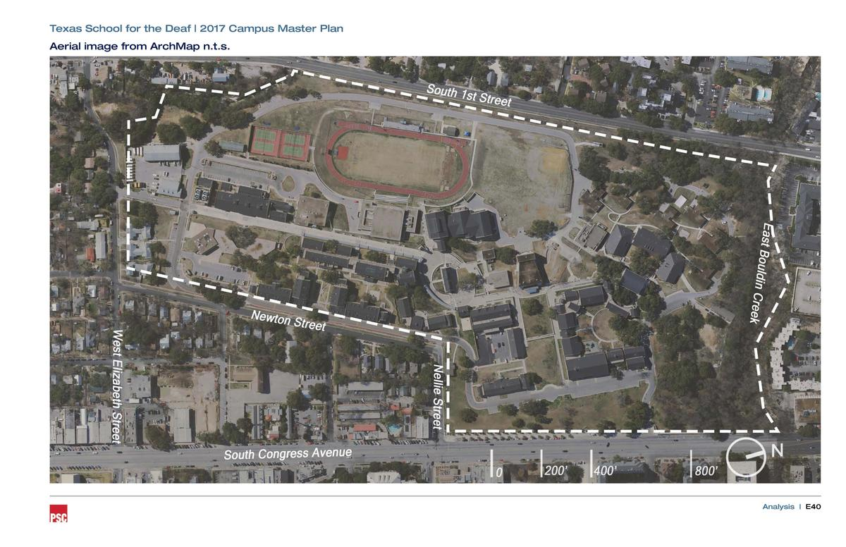 Texas School for the Deaf   2017 Campus Master Plan Aerial image from ArchMap n.t.s.  Analysis   E40